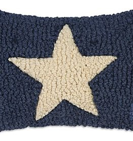 """Small Pillow White Star on Blue 8x12"""""""