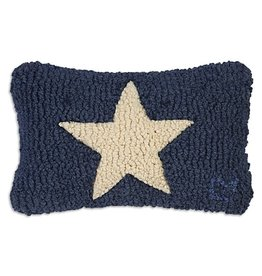 Small Pillow White Star on Blue