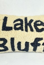 Pillow Lake Bluff Cream Blue Letters Small