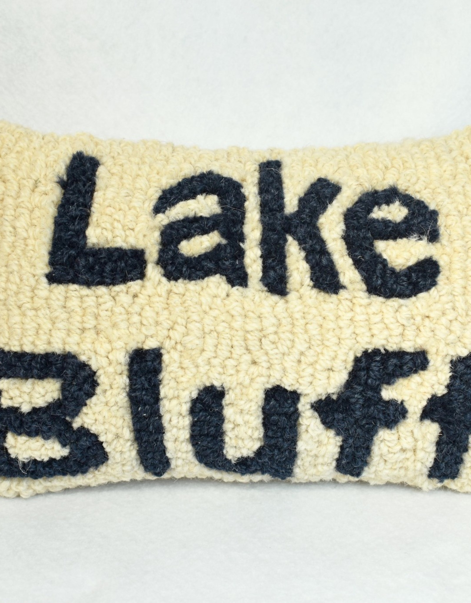 Small Pillow Lake Bluff Cream Blue Letters