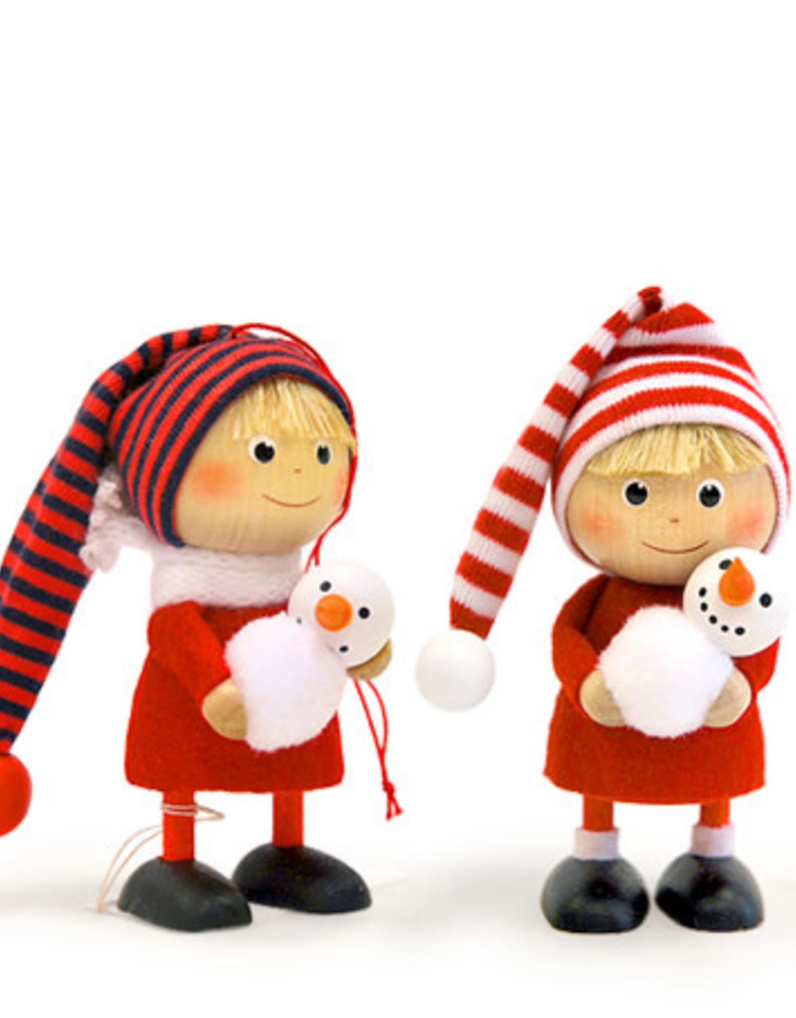 Nordic Dreams Boy Holding Snowman