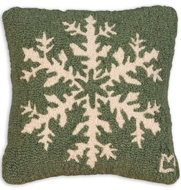 Pine Snowflake Hooked Pillow 14x14