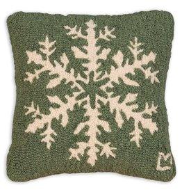 Pine Snowflake Hooked Pillow 14x14