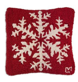 Red Pine Snowflake Hooked Pillow 14x14