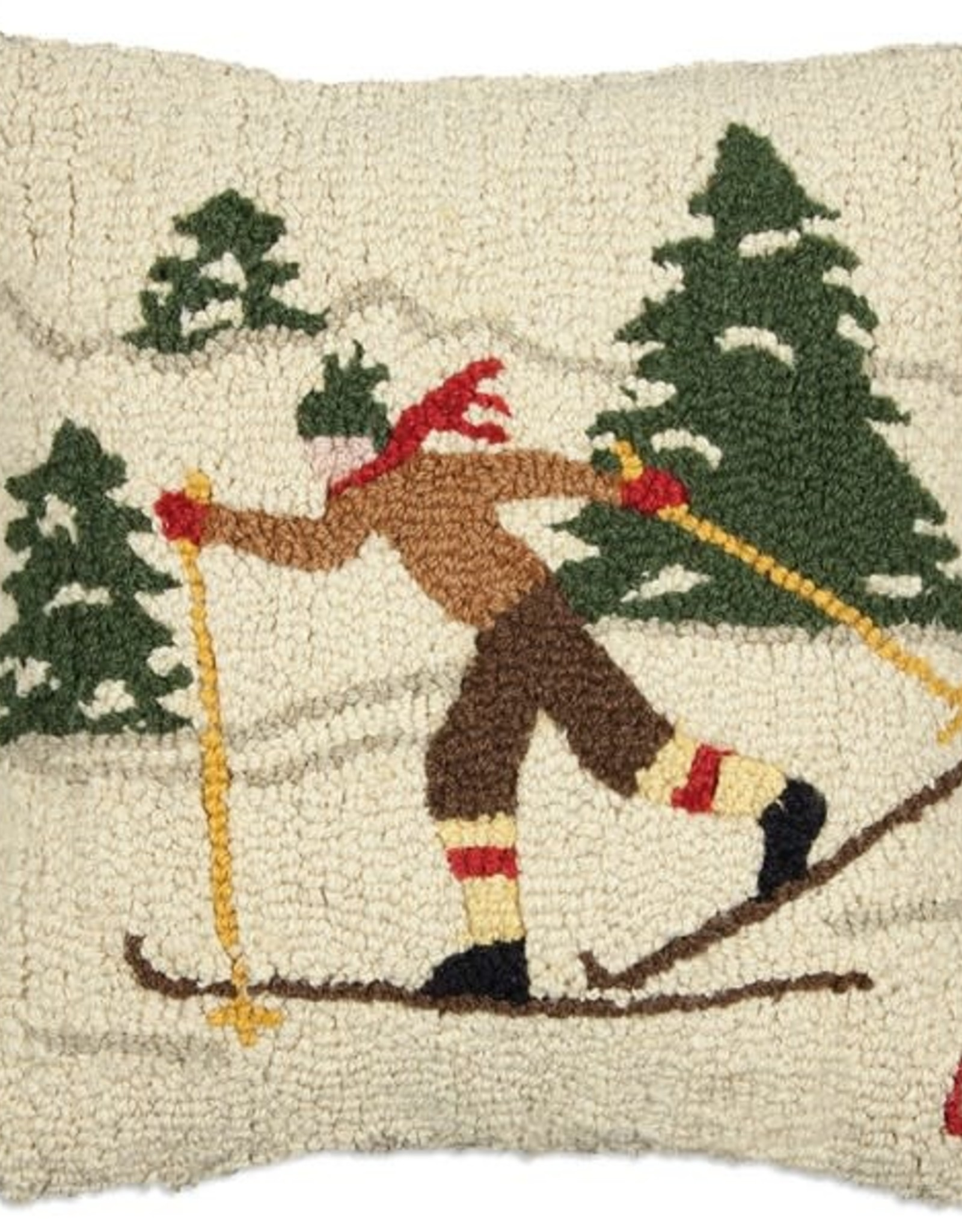 Pillow Cross Country Winter Skier 18x18