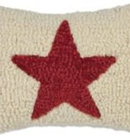 """Small Pillow Red Star on White 8x12"""""""