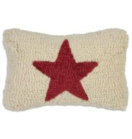 Small Pillow Red Star on White