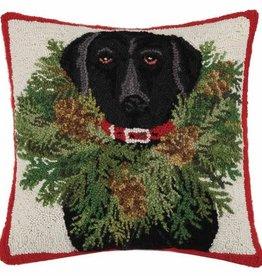 xxBlack Lab w/Wreath Pillow