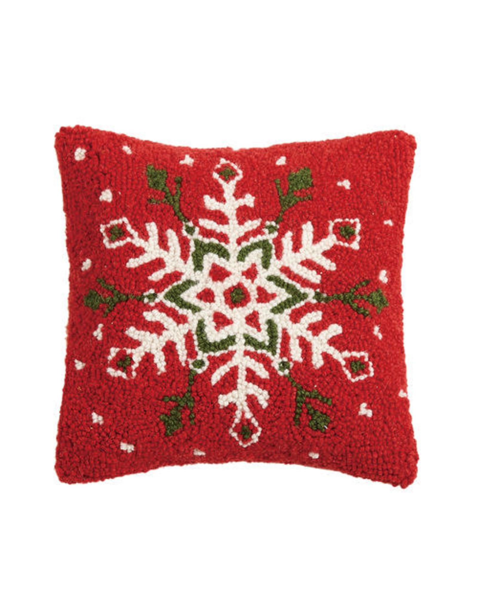 Festive Snowflake Hooked Pillow
