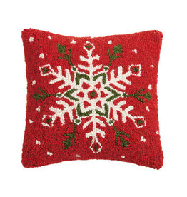 Festive Snowflake Hooked Pillow