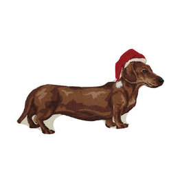 Dachshund Holiday Shaped Hook Rug