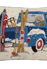 BLUE TRUCK W/SKIS HOOK PILLOW 14x20""