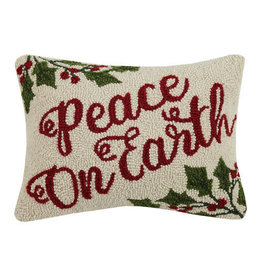 PEACE ON EARTH HOOK PILLOW 12X16""