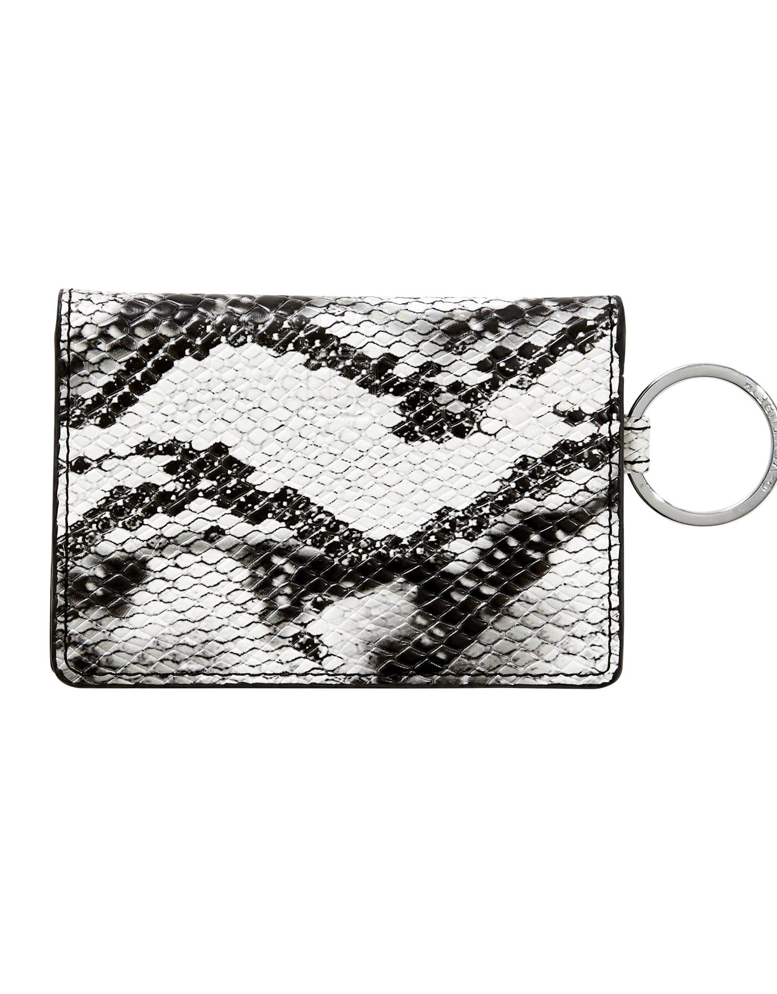 O Ventures Ossential Leather ID Case Tuxedo Snake Skin