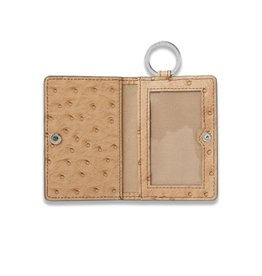 O Ventures Ossential Leather Card Case Mocha Ostrich