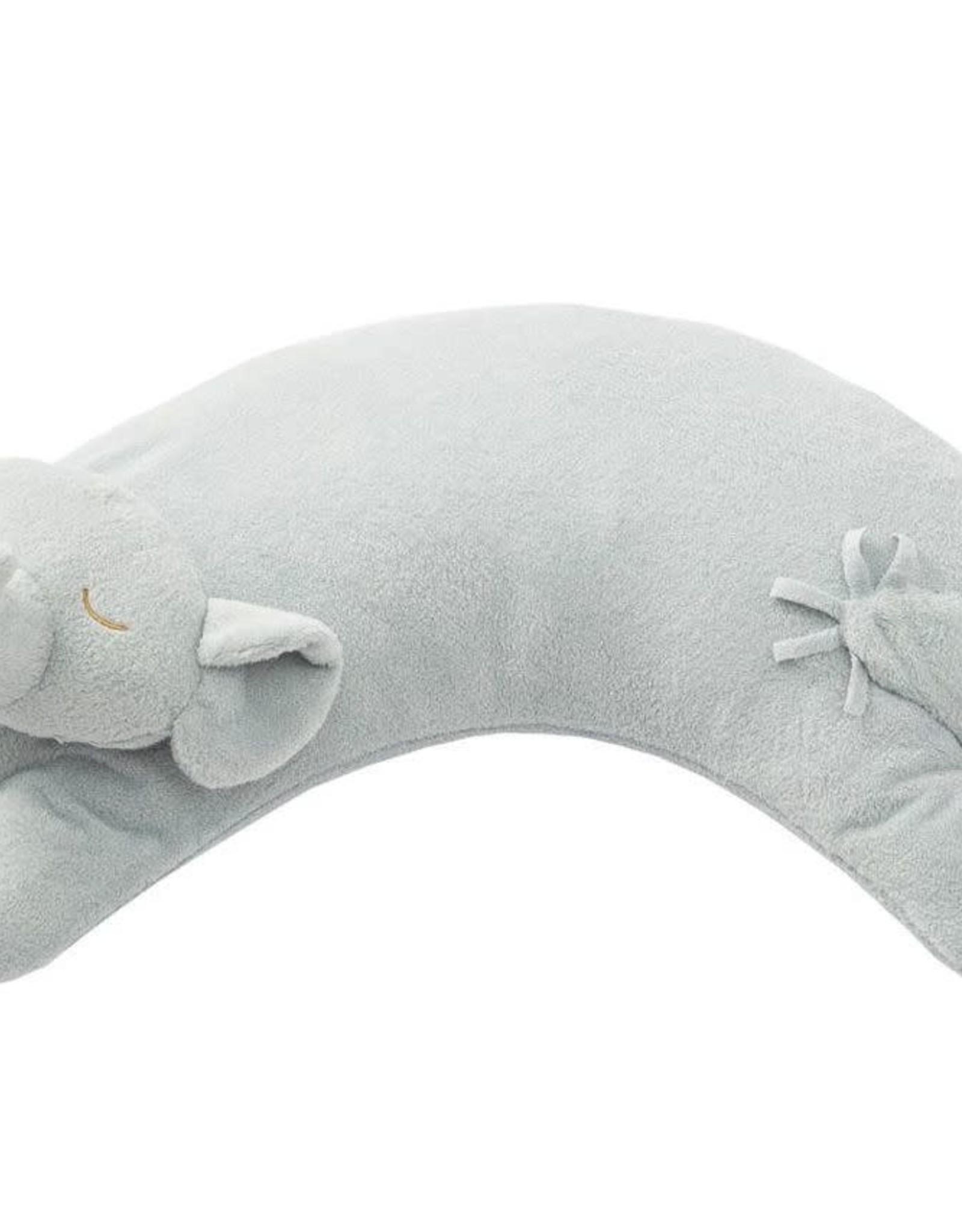 Angel Dear Curved Pillow Elephant Grey