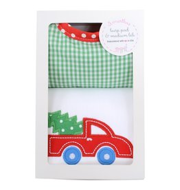 Three Marthas Red Xmas Medium Bib & Burp Box Set