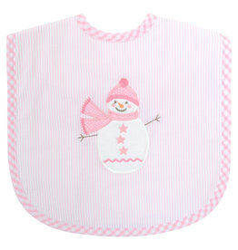 Three Marthas Bib Toddler Pink Snowman