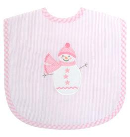 Three Marthas Bib Toddler Pink Snowman