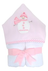 Three Marthas Everykid Towel Pink Snowman