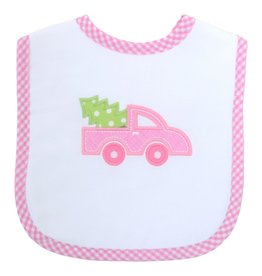 Three Marthas Feeding Bib Pink Christmas Truck