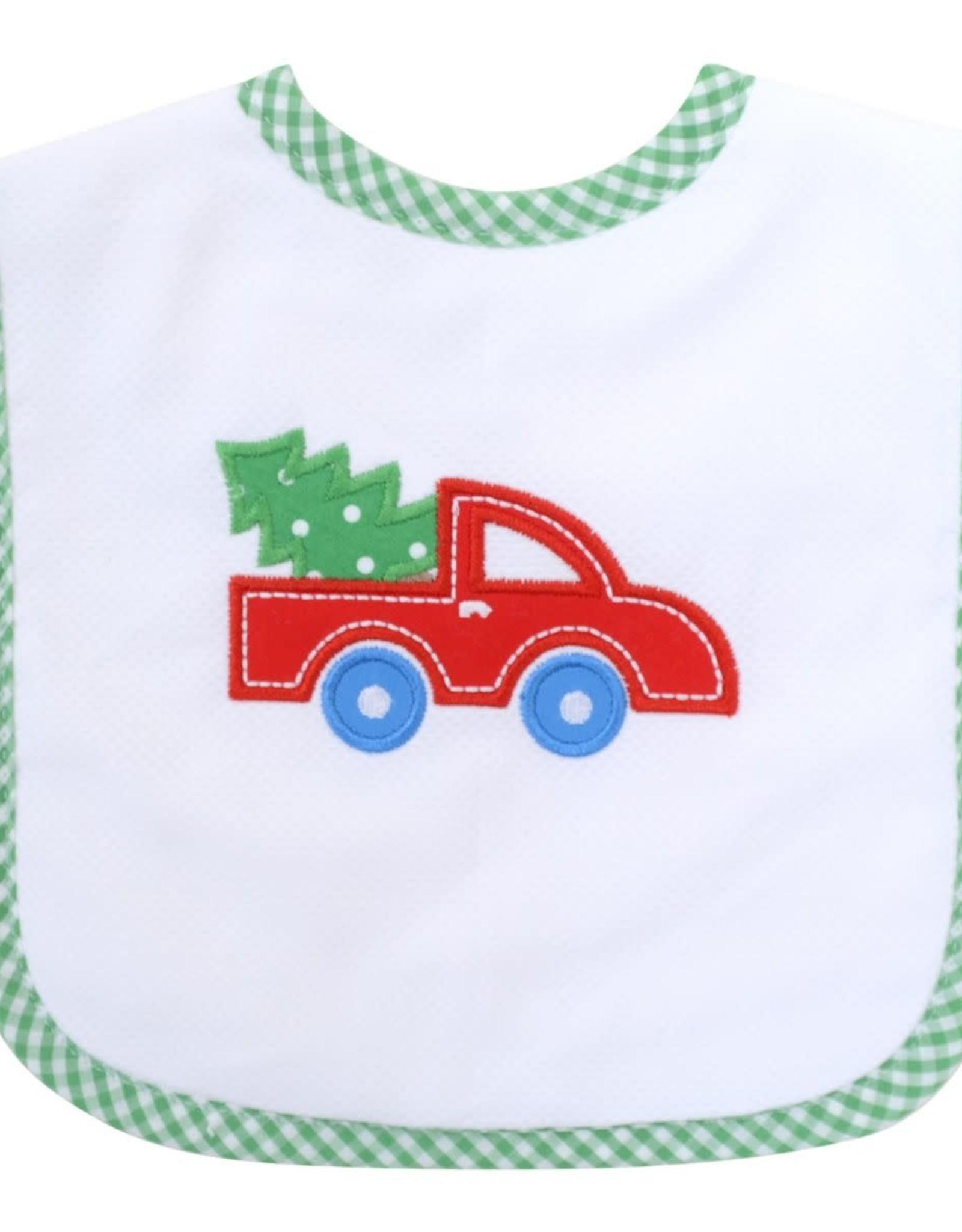 Three Marthas Feeding Bib Red Christmas Truck