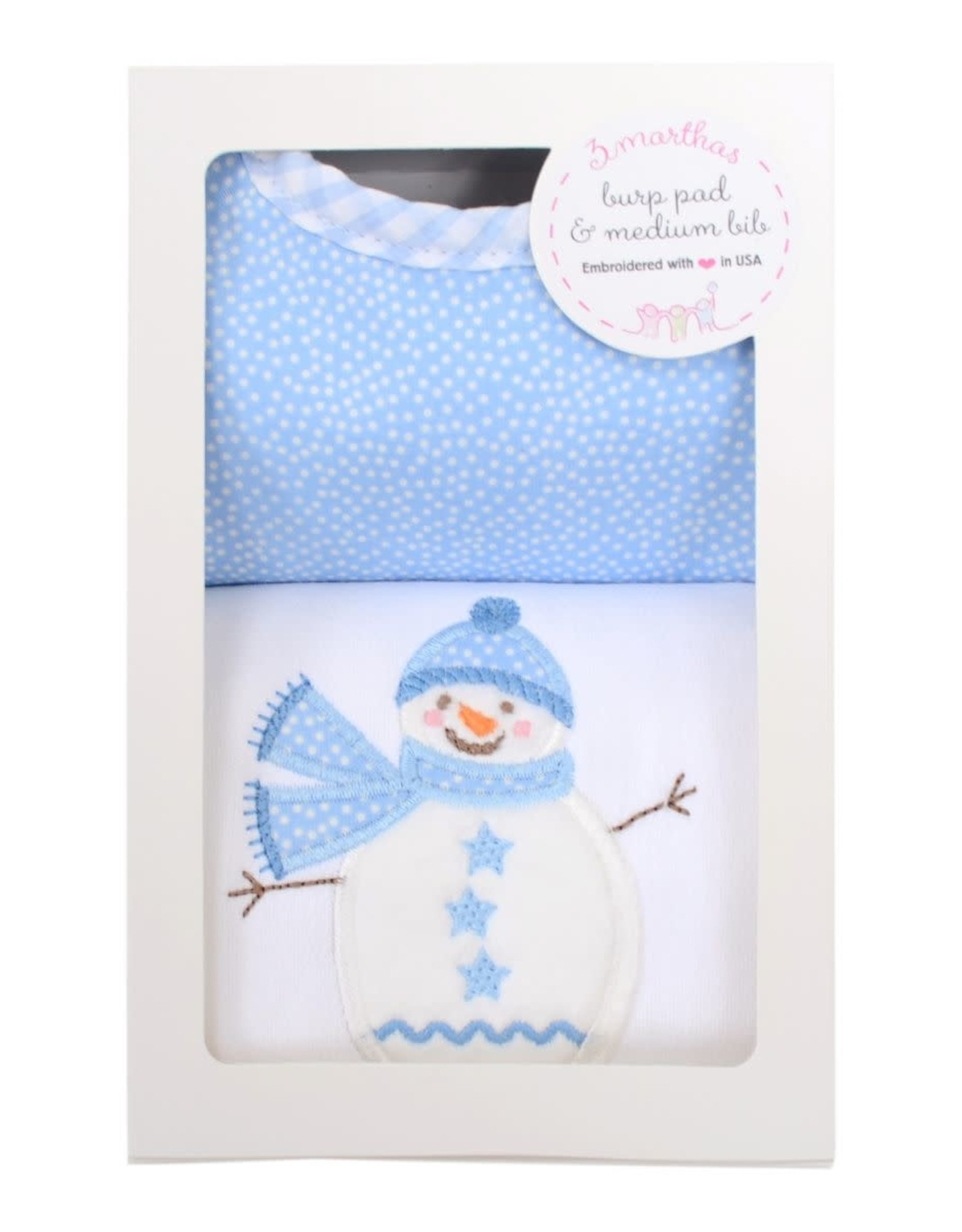 Three Marthas Blue Snowman Medium Bib & Burp Box Set