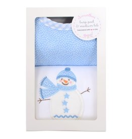 Three Marthas Blue Snowman Medium Bib & Burp Box Set