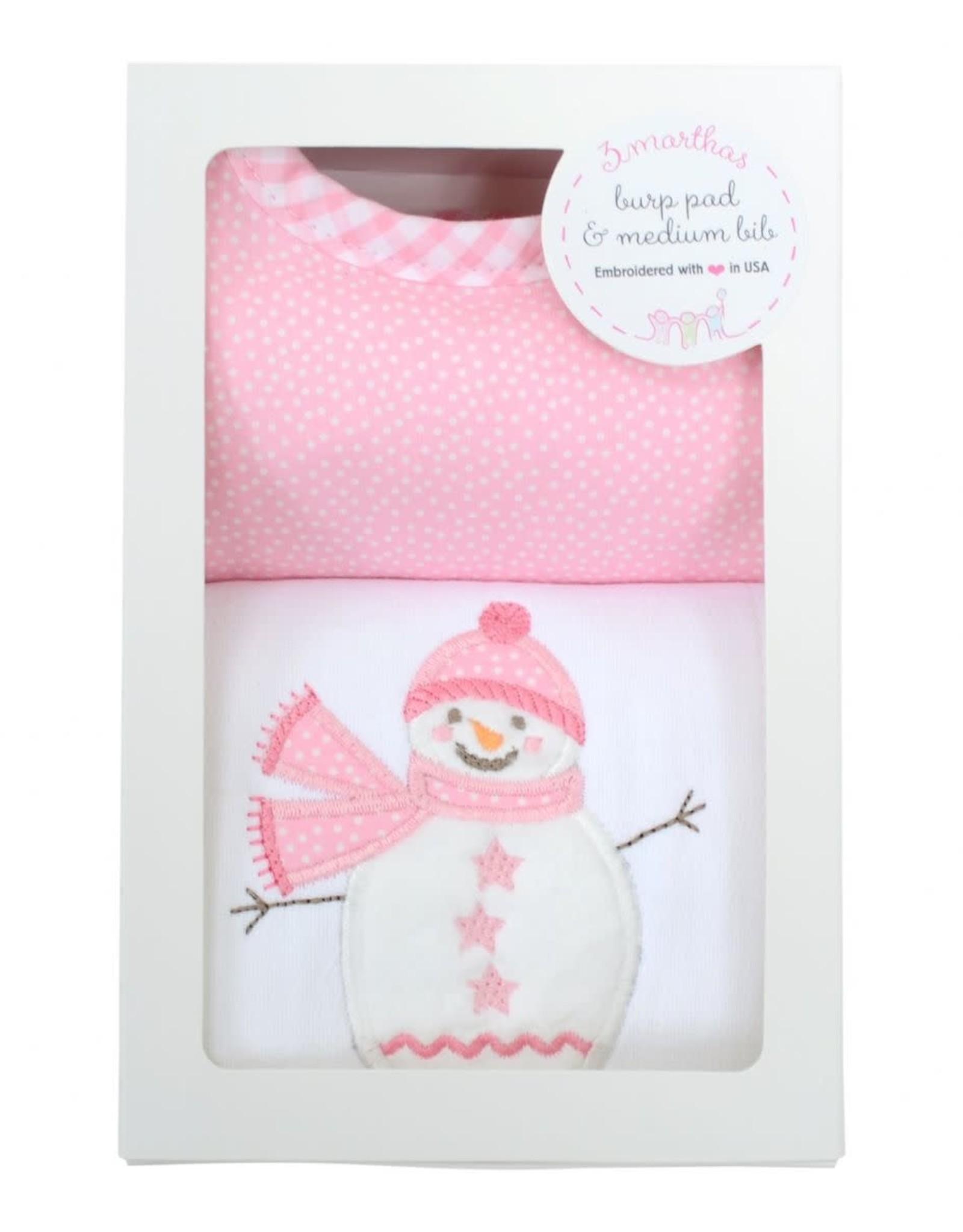 Three Marthas Pink Snowman Medium Bib & Burp Box Set
