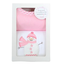 Three Marthas Pink Snowman Medium Bib & Burp Box Set