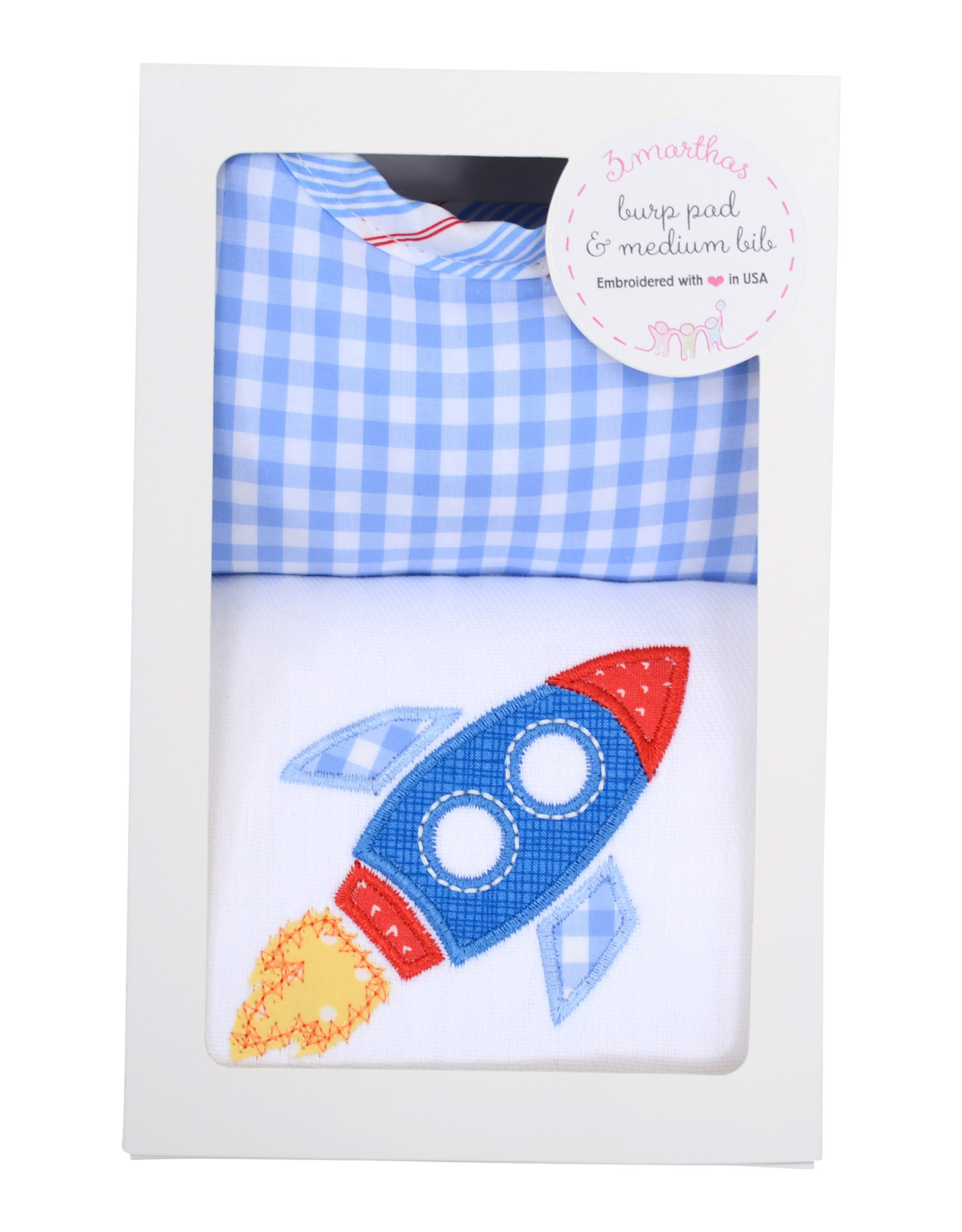 Three Marthas Rocket Medium Bib & Burp Box Set