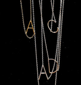 Sterling Initial Necklace .75""