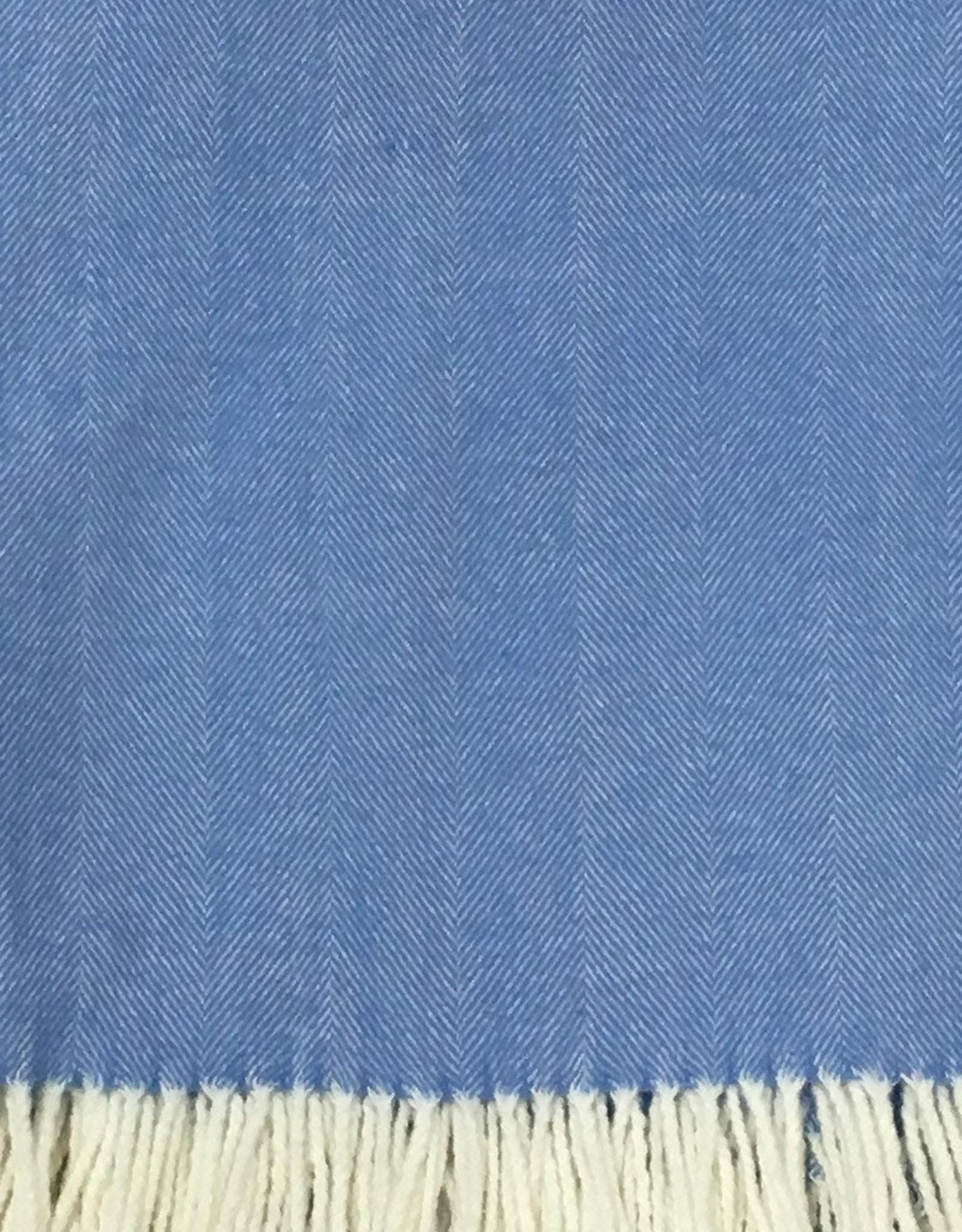 Alashan Cashmere Co. Herringbone Throw Carolina Blue