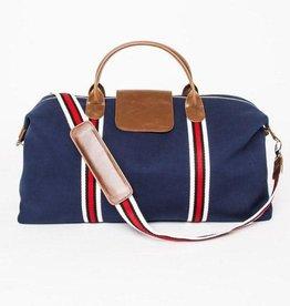 Brouk & Co Original Duffle Navy Blue Canvas red Stripes