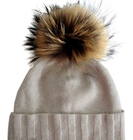 Cashmere Rolled out cuff beanie w/Raccoon pompom Beige