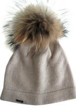 Cashmere plain hat w/Raccoon pompom