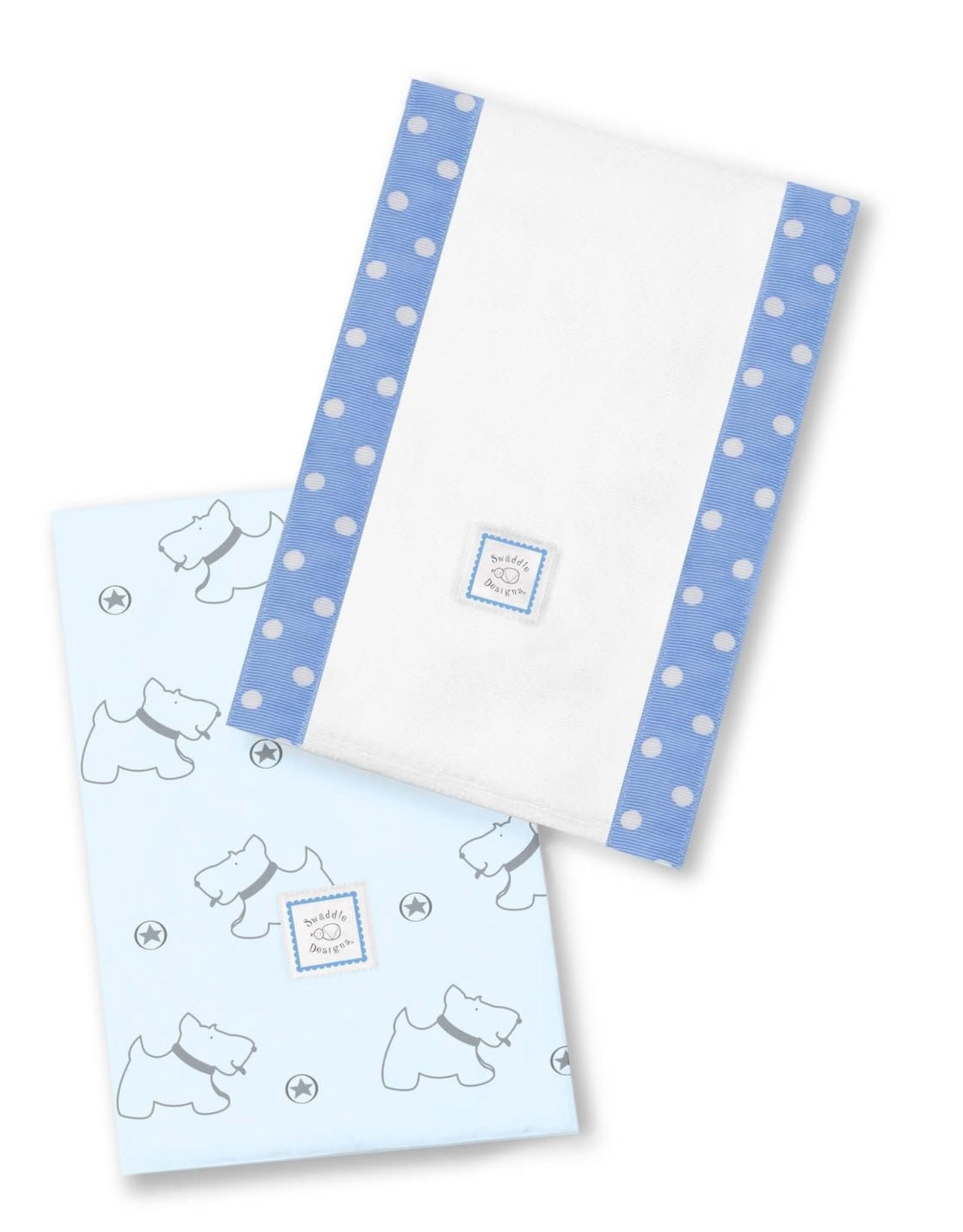 Swaddle Designs Baby Burpies Gray Doggie/Blue-Set 2