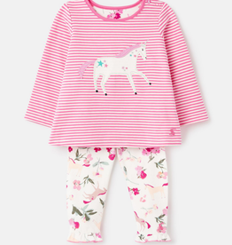 Joules Pink Unicorn Applique Set