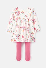 Joules Dress/Tight Set White Ditsy