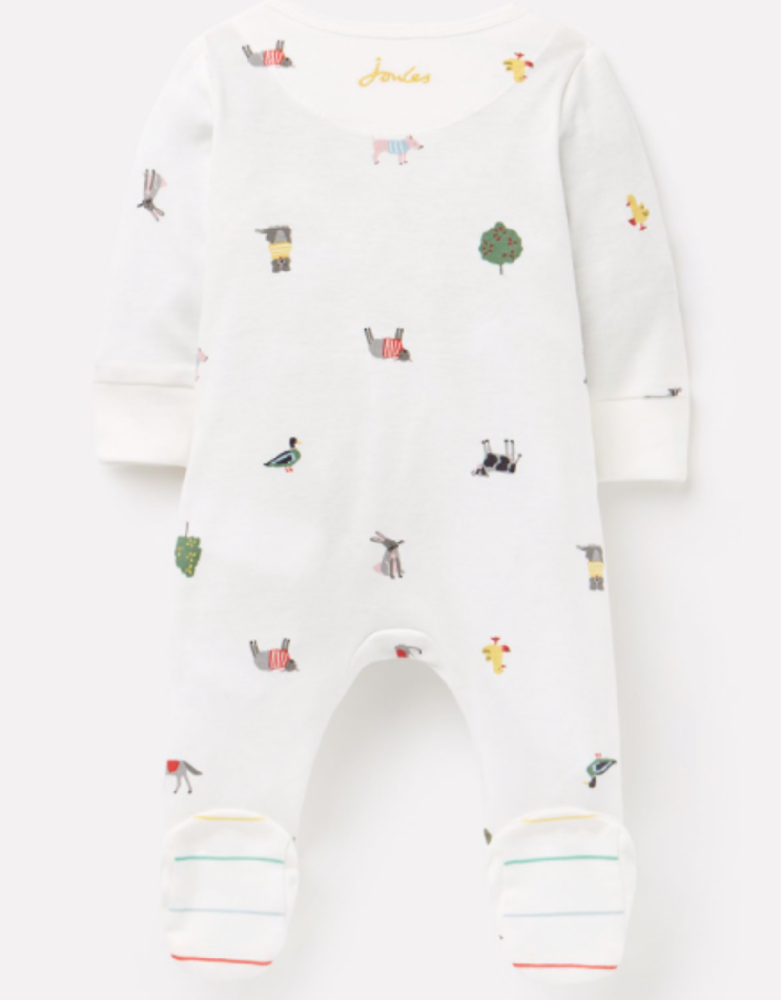 Joules Zip Babygrow Farm Print