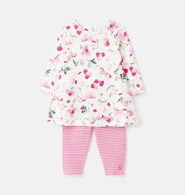 Joules Jersey Printed Dress/Leggings White Unicorn Floral