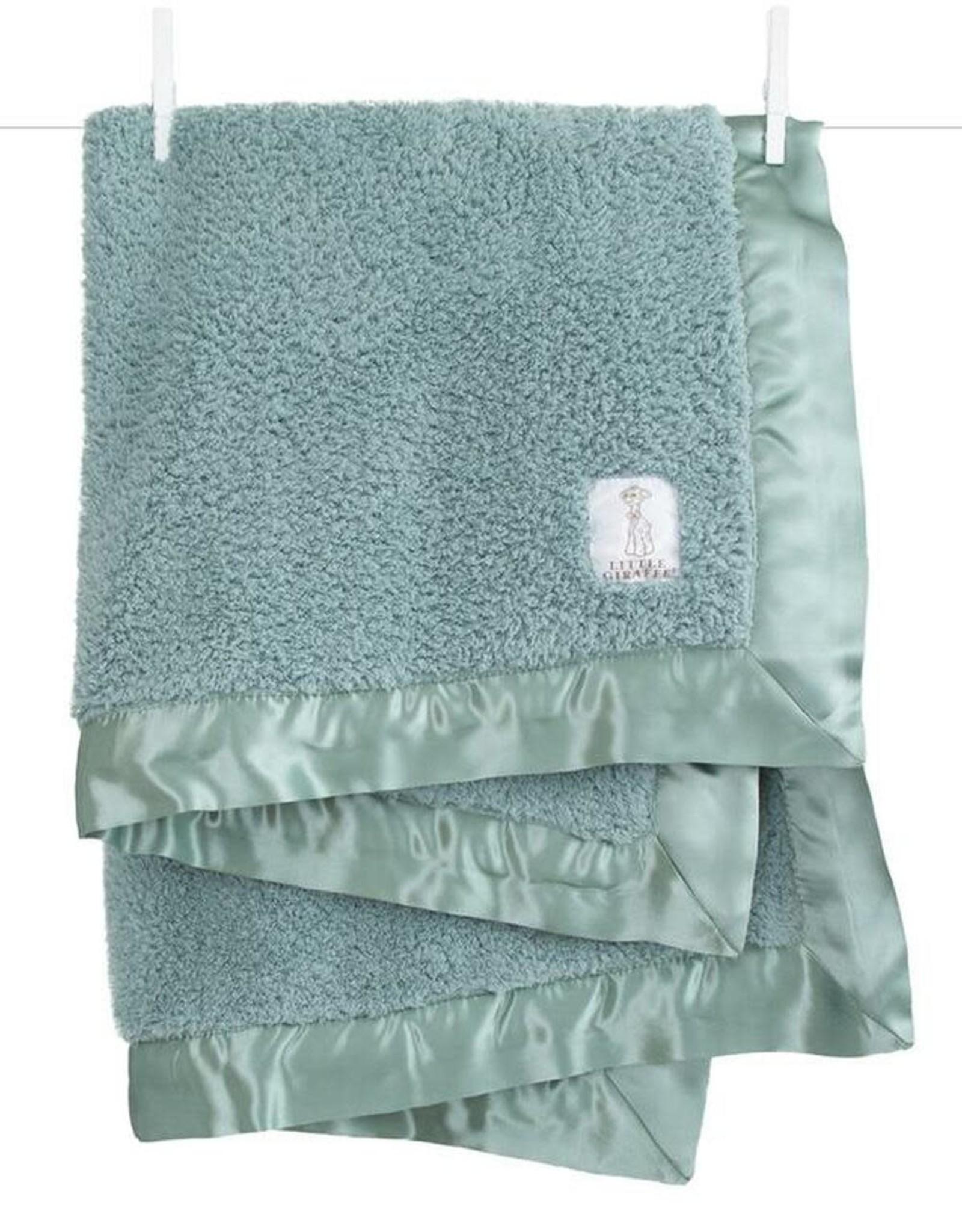 Little Giraffe Chenille Blanket Sage