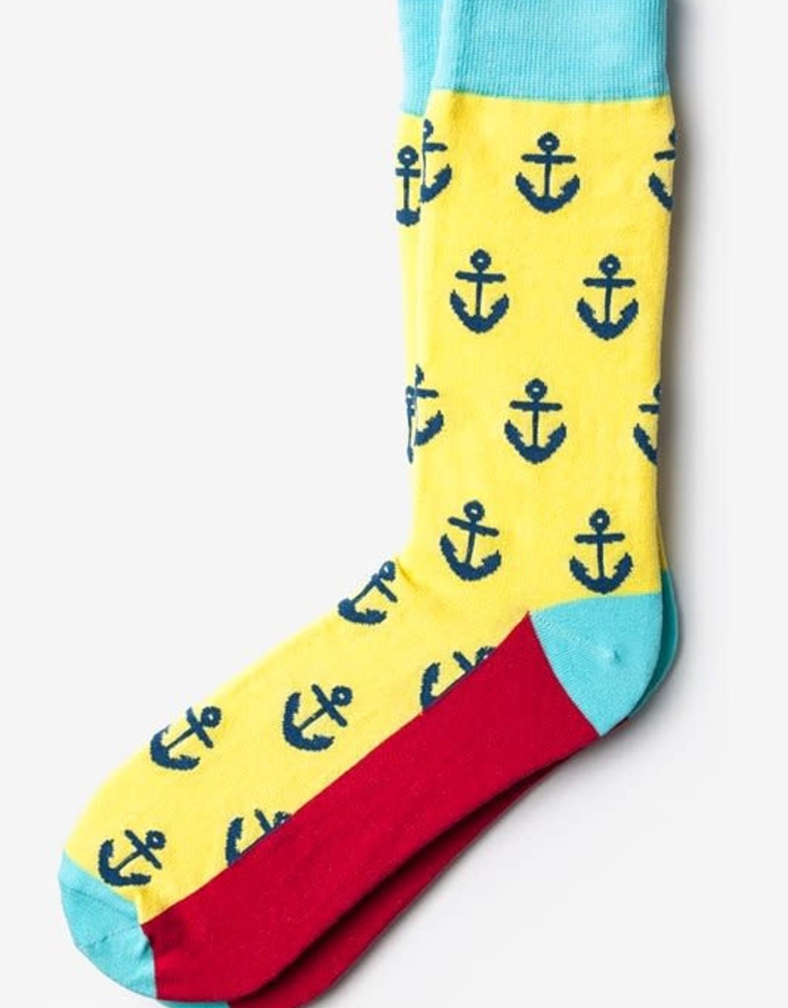 Wild Attire Socks Anchor Yellow