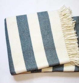 A Soft Idea Cotton Throw Candy Stripe Slate