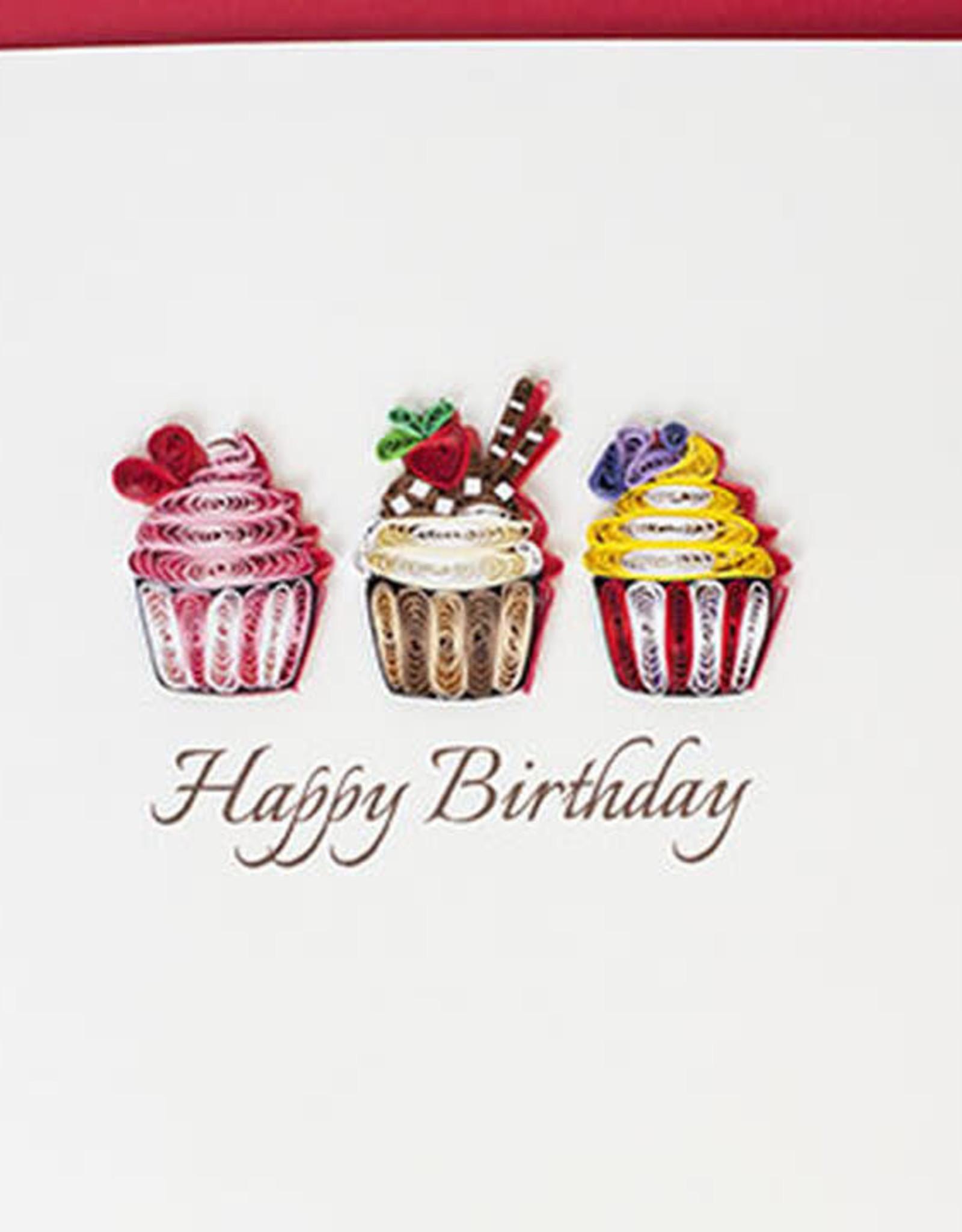 Quilling Card LLC Card Birthday Cupcakes