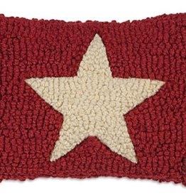 Small Pillow White Star on Red