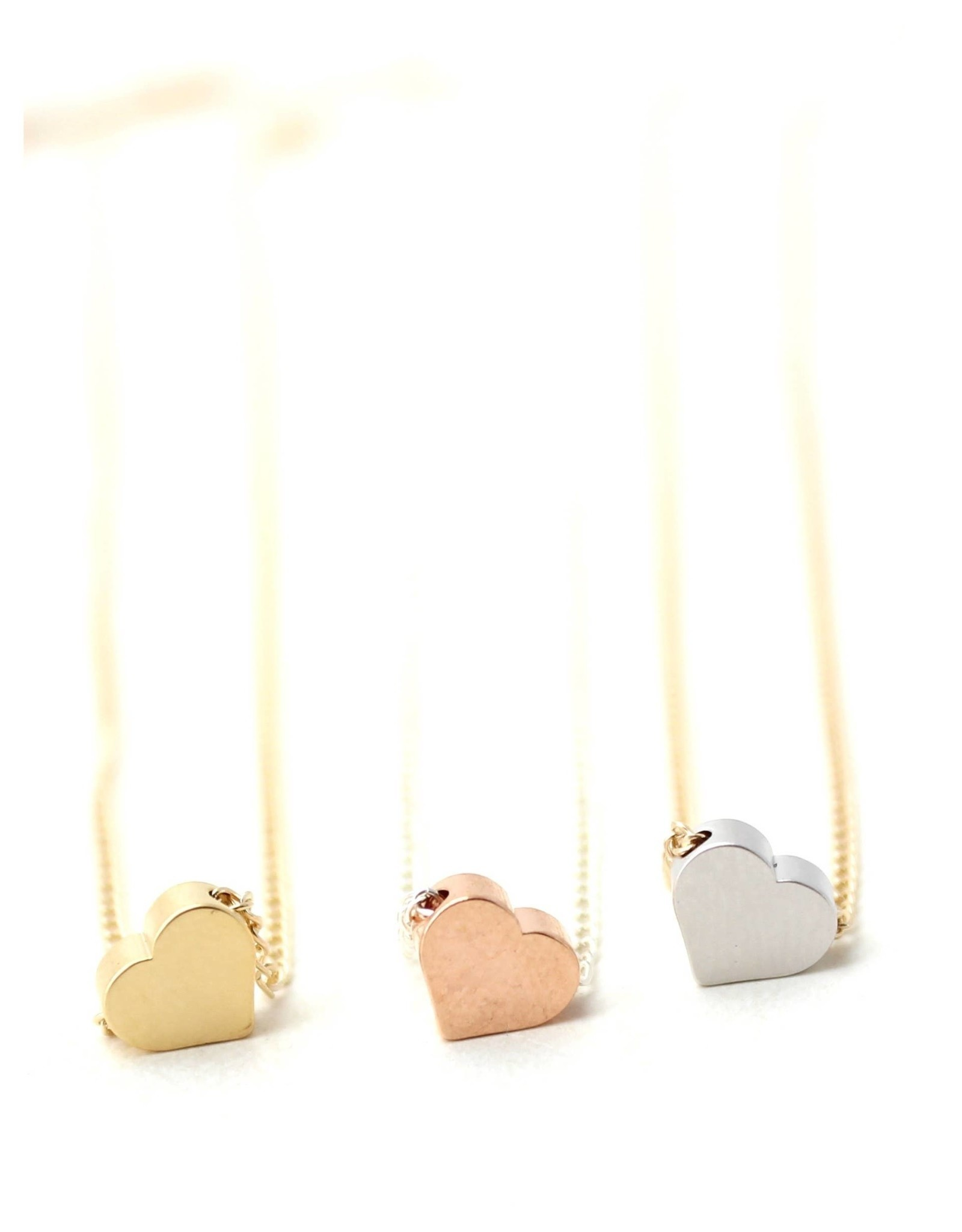 Crafts and Love Petite Necklace Silver Heart Gold Chain
