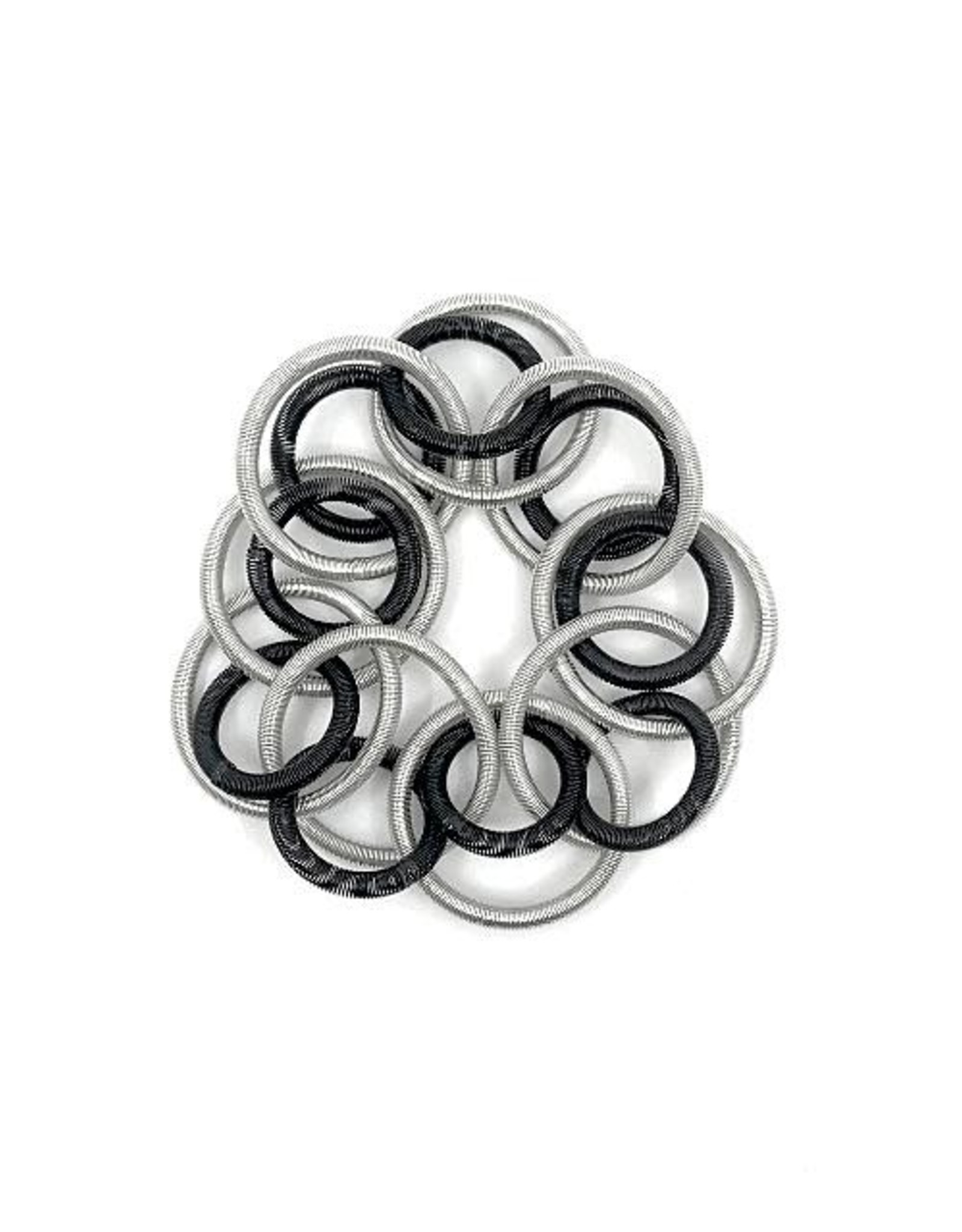 Sea-Lily Silver/Black Short Loop Bracelet