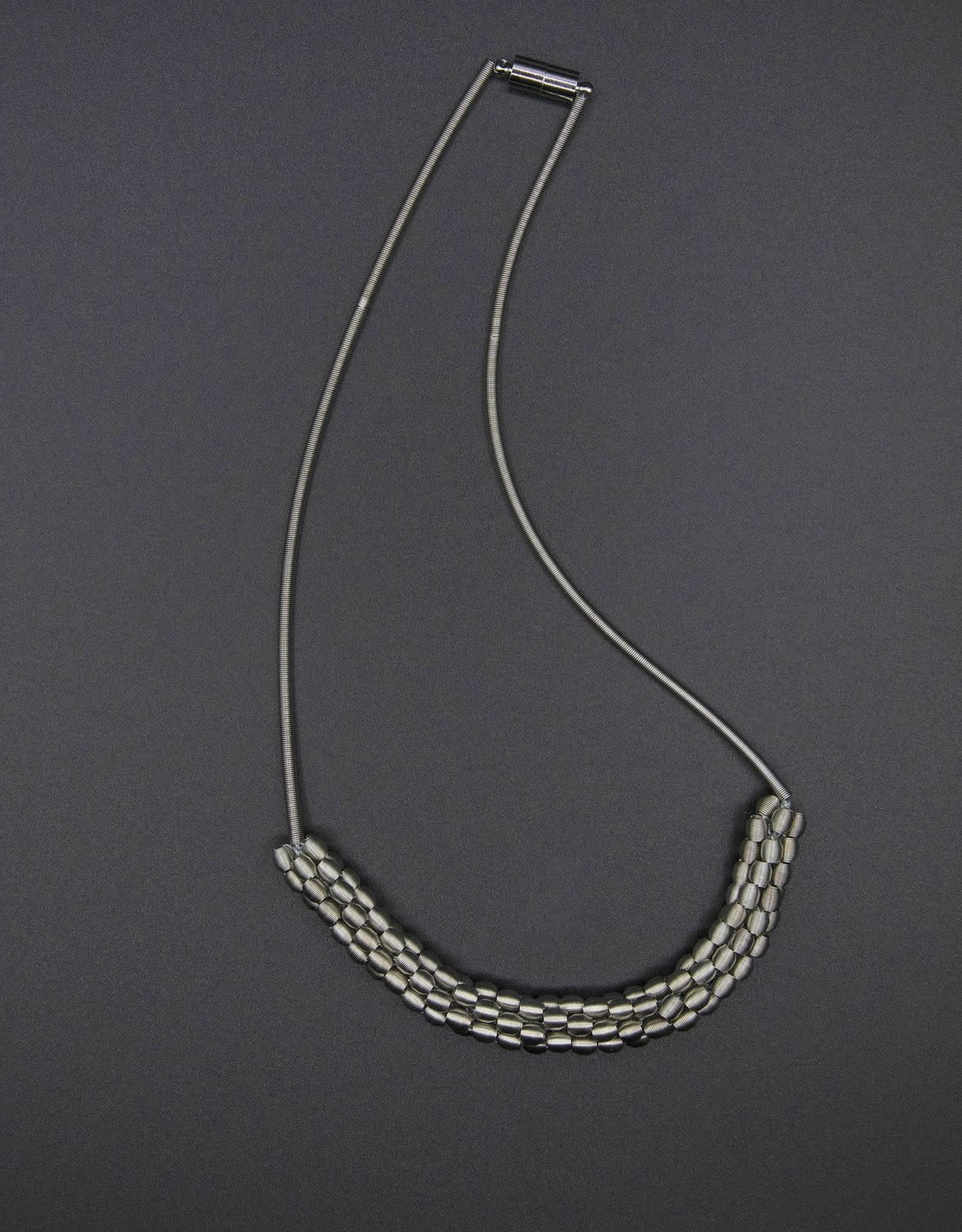 Sea-Lily Short Piano Wire Necklace w/woven Silver Beads