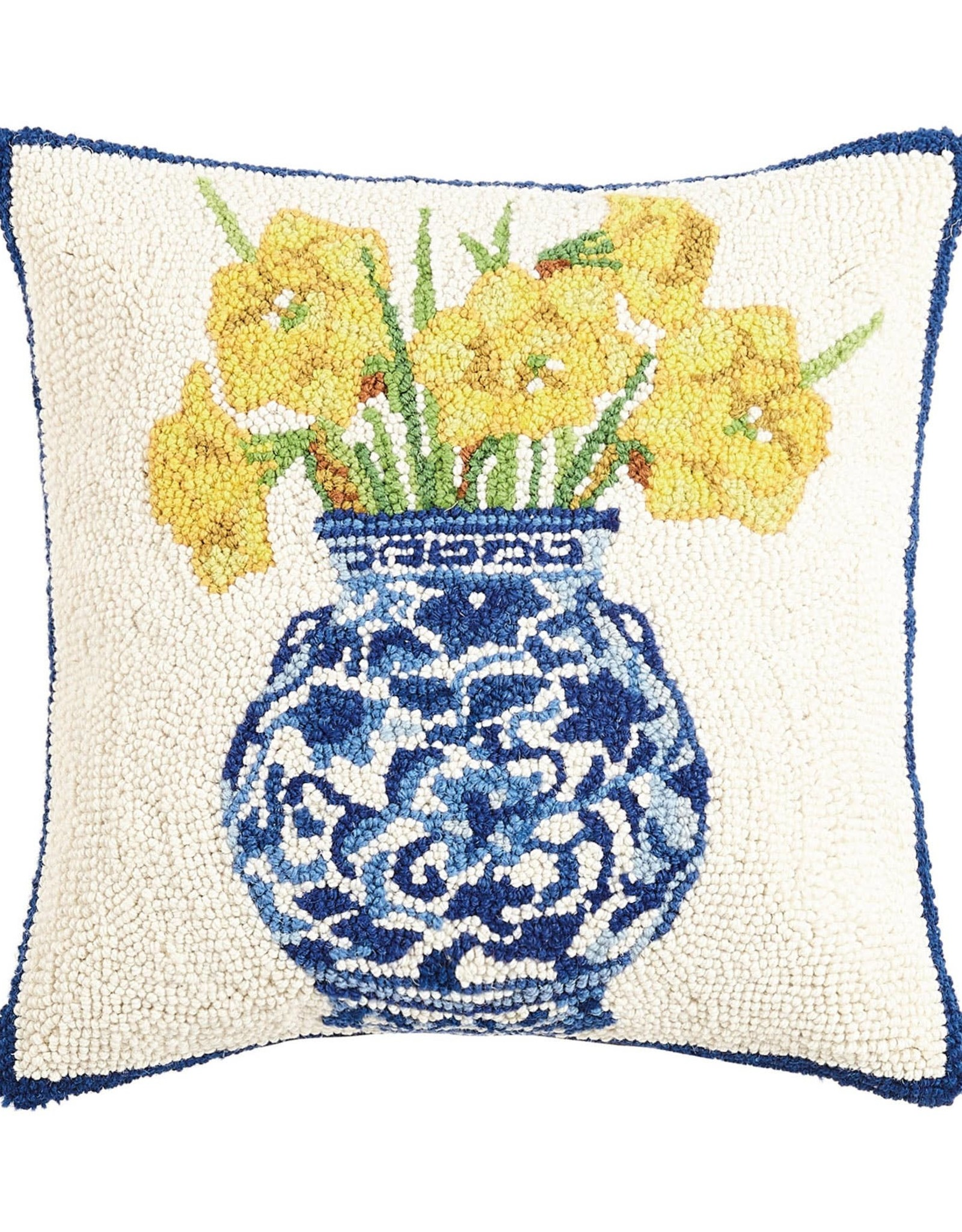 Chinoiserie Vase Daffodils Pillow